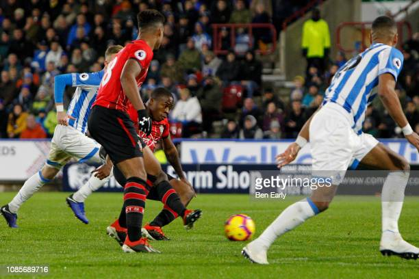 Michael Obafemi of Southampton scores during the Premier League match between Huddersfield Town and Southampton FC at John Smith's Stadium on...