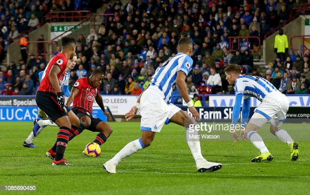 Michael Obafemi of Southampton scores his teams third goal during the Premier League match between Huddersfield Town and Southampton FC at John...
