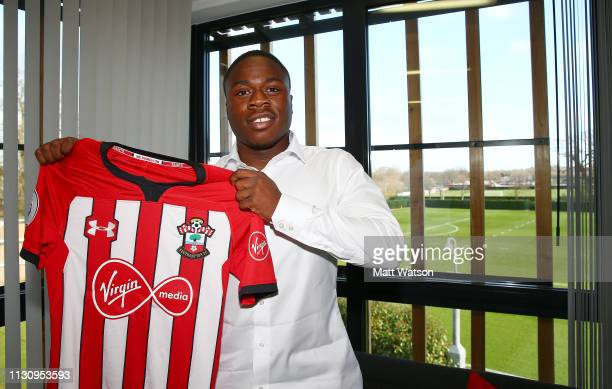 Michael Obafemi signs a new three and a half year contract with Southampton FC at the Staplewood Campus on February 20 2019 in Southampton England