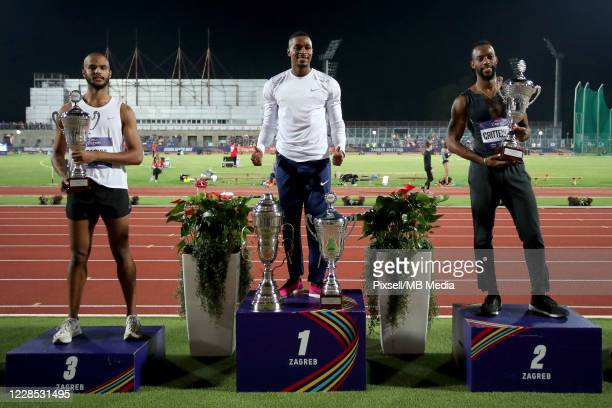 Michael Obasuyi of Belgium Wilhem Belocian of France and Freddie Crittenden of USA celebrate on the podium at Medal Ceremony for the man's 110 meters...