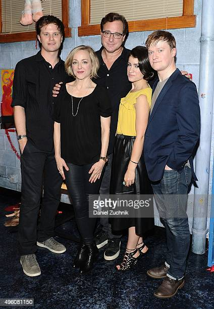 Michael Oberholtzer Geneva Carr Bob Saget Sarah Stiles and Steven Boyer pose on stage at 'Hand To God' at Booth Theatre on November 6 2015 in New...