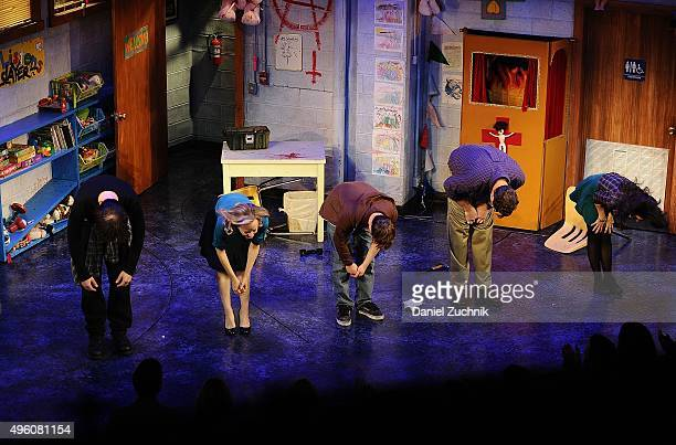 Michael Oberholtzer Geneva Carr Steven Boyer Bob Saget and Sarah Stiles pose during the curtain call of 'Hand To God' at Booth Theatre on November 6...