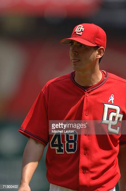 Michael O'Connor of the Washington Nationals during a baseball game against the New York Yankees on June 18 2006 at RFK Stadium in Washington DC The...