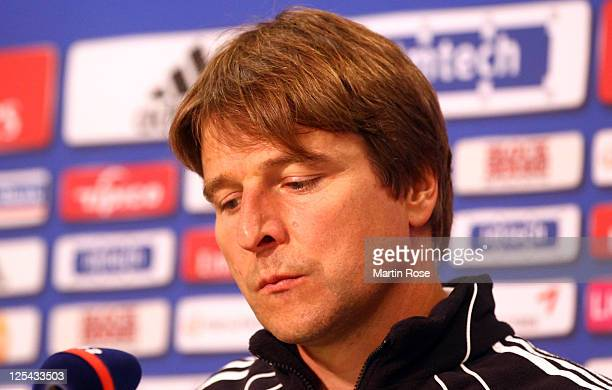 Michael Oenning, head coach of Hamburg recats during the press conference after the Bundesliga match between Hamburger SV and Borussia...