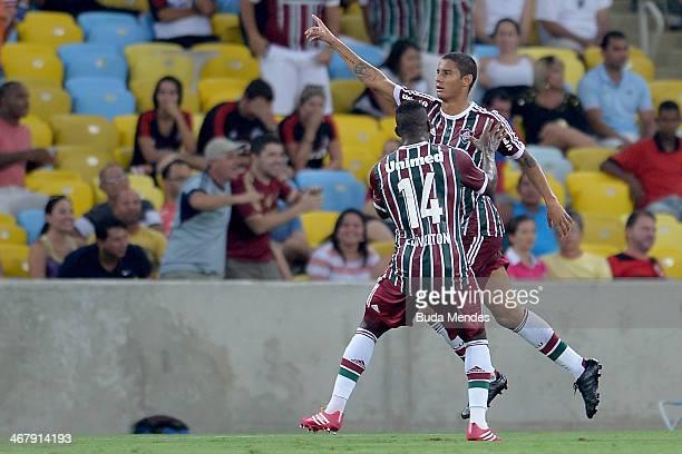 Michael of Fluminense celebrates a scored goal against Flamengo during a match between Flamengo and Fluminense as part of Carioca 2014 at Maracana...
