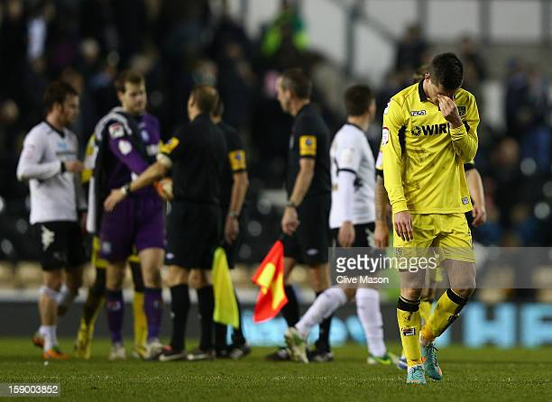 Michael O'Halloran of Tranmere Rovers looks dejected after the FA Cup with Budweiser Third Round match between Derby County and Tranmere Rovers at...