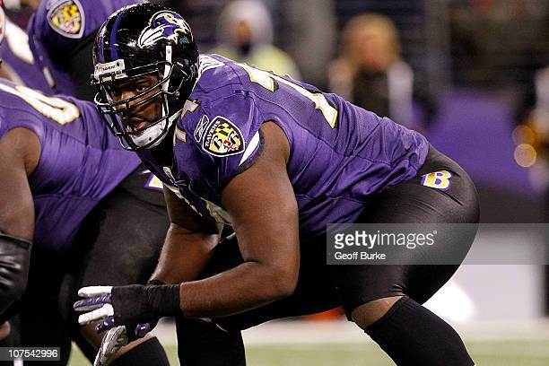 Michael Oher of the Baltimore Ravens blocks against the Pittsburgh Steelers at MT Bank Stadium on December 5 2010 in Baltimore Maryland