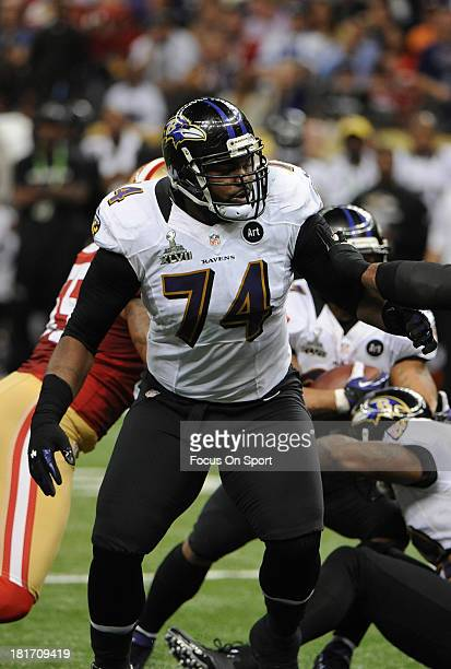 Michael Oher of the Baltimore Ravens blocks against the San Francisco 49ers during Super Bowl XLVII at the MercedesBenz Superdome on February 3 2013...