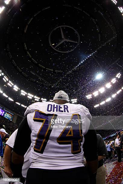 Michael Oher of the Baltimore Ravens celebrates after defeating the San Francisco 49ers during Super Bowl XLVII at the MercedesBenz Superdome on...