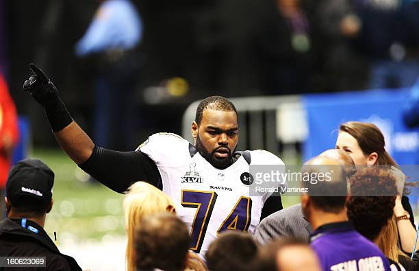 Michael Oher of the Baltimore Ravens celebrates after the Ravens won 3431 against the San Francisco 49ers during Super Bowl XLVII at the MercedesBenz...