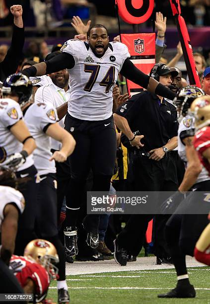 Michael Oher of the Baltimore Ravens reacts after the Ravens won 3431 against the San Francisco 49ers during Super Bowl XLVII at the MercedesBenz...