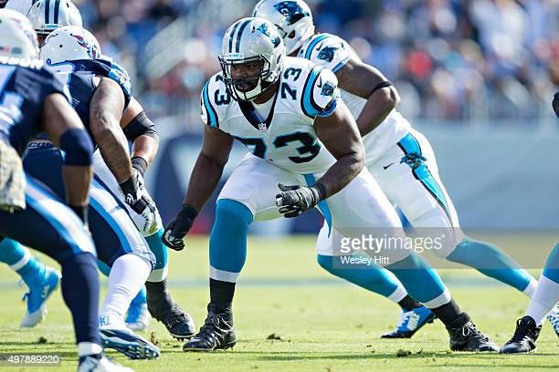 Michael Oher of the Carolina Panthers blocks at the line during a game against the Tennessee Titans at Nissan Stadium on November 15 2015 in...
