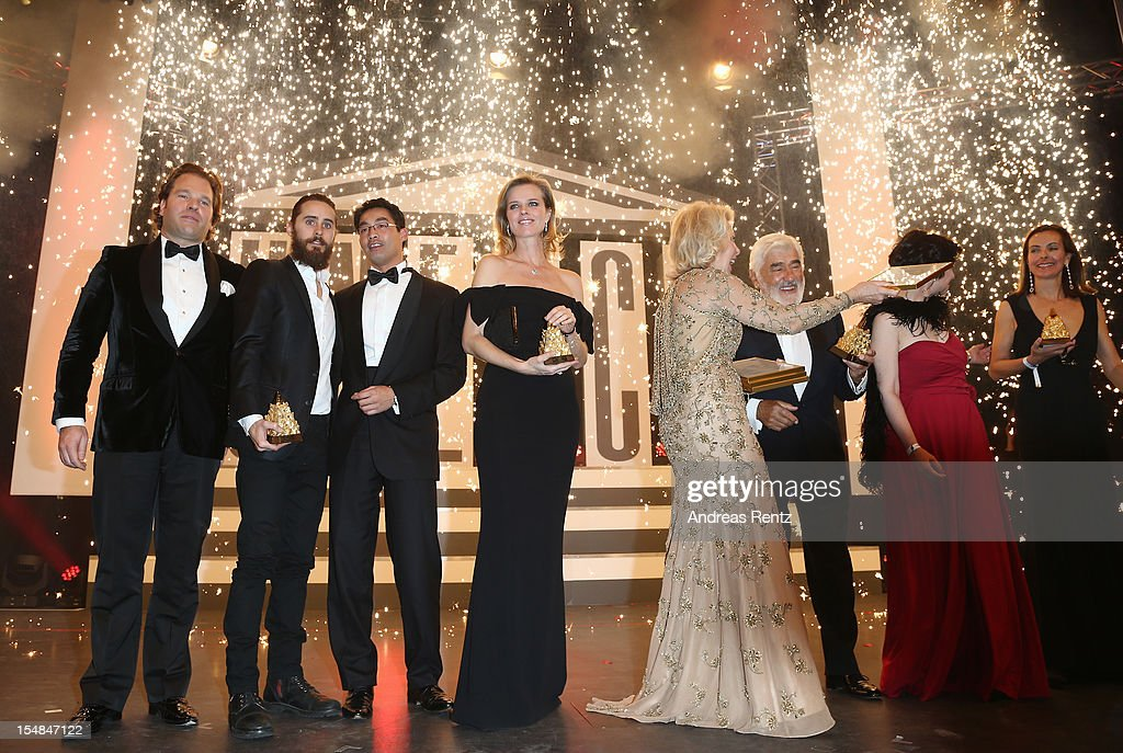 Michael Ohoven, Jared Leto, politican Philipp Roesler and Eva Herzigova attend the 21st UNESCO Charity Gala 2012 on October 27, 2012 in Dusseldorf, Germany.