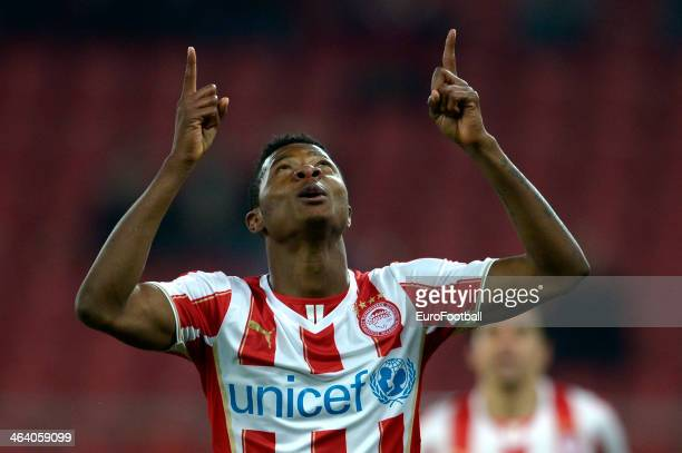 Michael Olaitan of Olympiacos celebrates during the Greek Superleague match between Olympiacos and Levadiakos at the Georgios Karaiskakis Stadium on...