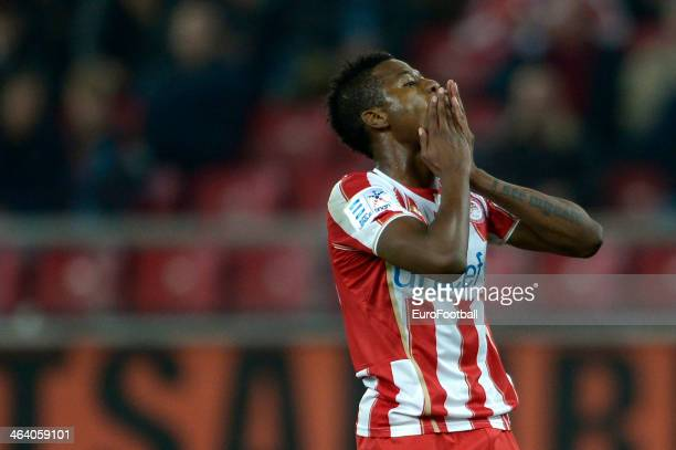 Michael Olaitan of Olympiacos holds his hands in his face in despair during the Greek Superleague match between Olympiacos and Levadiakos at the...