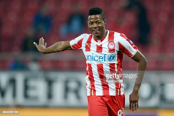 Michael Olaitan of Olympiacos in action during the Greek Superleague match between Olympiacos and Levadiakos at the Georgios Karaiskakis Stadium on...
