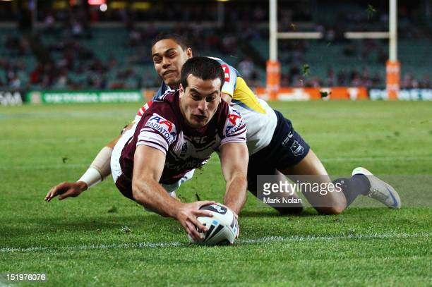 Michael Oldfield of the Eagles scores during the NRL Semi Final match between the Manly Sea Eagles and the North Queensland Cowboys at Allianz...
