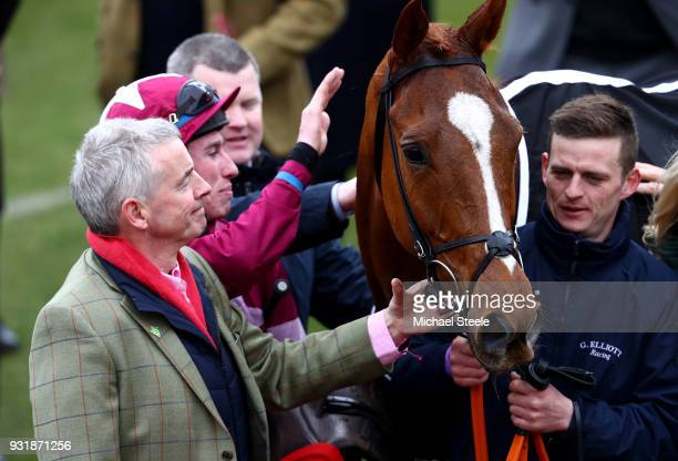 Michael O'Leary and Jack Kennedy with Samcro celebrate after winning the Ballymore Novices' Hurdle during Cheltenham Festival Ladies Day at...