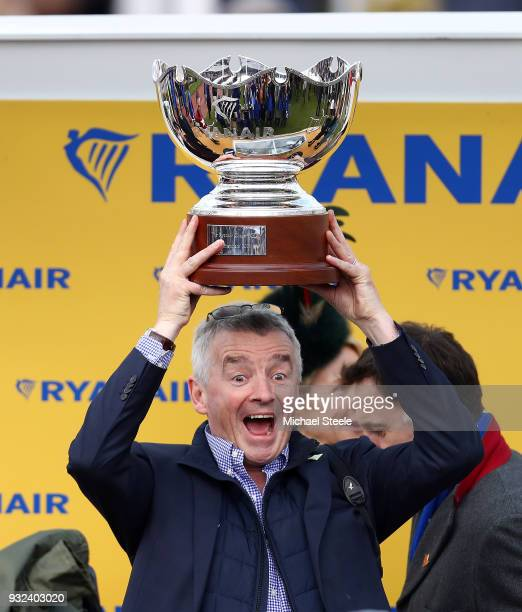 Michael O'Leary celebrates after the victory of Balko Des Flos in the Ryanair Chase at Cheltenham Racecourse on March 15 2018 in Cheltenham England