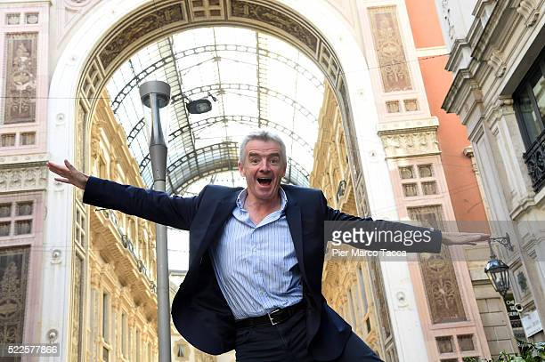 Michael O'Leary CEO of Ryanair poses before the Ryanair press conference on April 20 2016 in Milan Italy Low cost airline Ryanair presented the data...