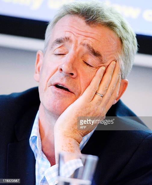 Michael O'Leary, Chief Executive Officer of Irish airline Ryanair, is pictured during a press conference at the Scandic Grand Central Hotel in...