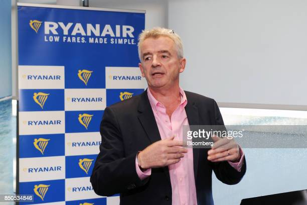 Michael O'Leary chief executive officer of Ryanair Holdings Plc gestures ahead of the company's annual general meeting in Dublin Ireland on Thursday...