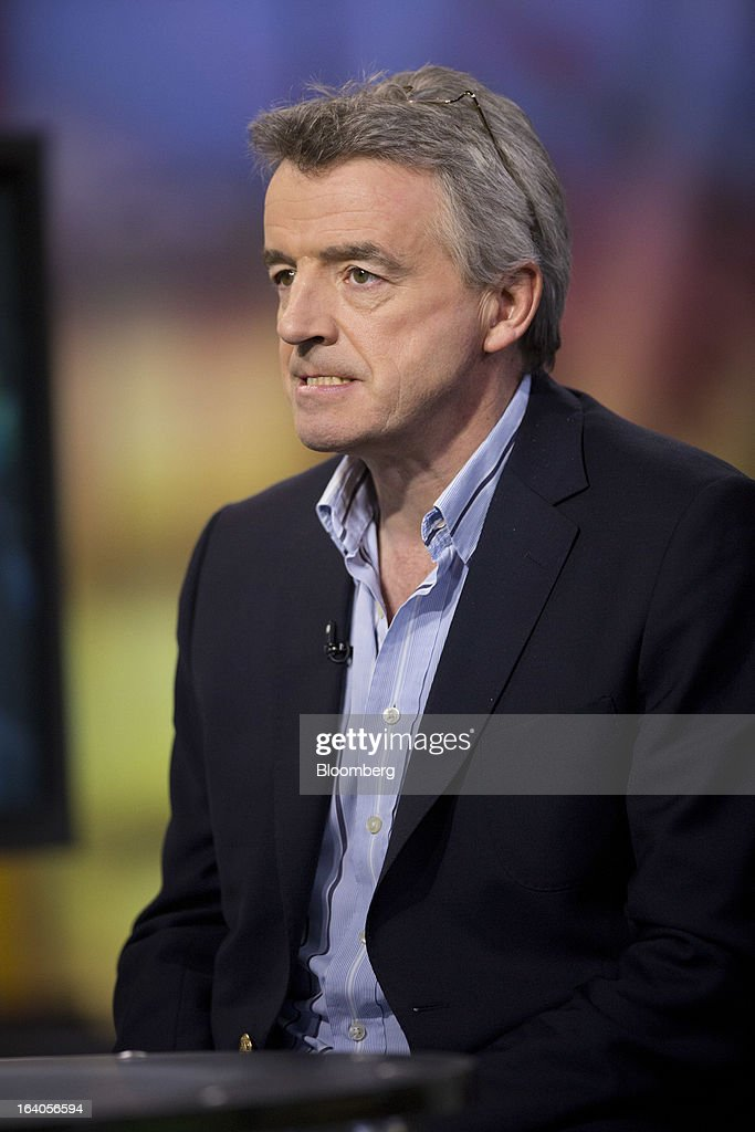 Michael O'Leary, chief executive officer of Ryanair Holdings Plc, pauses during an interview in New York, U.S., on Tuesday, March 19, 2013. O'Leary discussed the low-cost carrier's agreement to buy 175 Boeing Co. 737 jets worth $15.6 billion at list price to add discount flights in markets vacated by full-service rivals. Photographer: Scott Eells/Bloomberg via Getty Images
