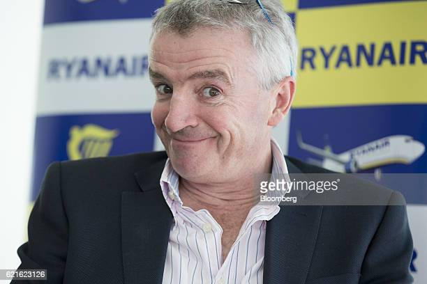 Michael O'Leary chief executive officer of Ryanair Holdings Plc reacts at a news conference presenting the company's halfyear results in London UK on...