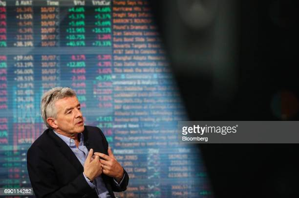 Michael O'Leary chief executive officer of Ryanair Holdings Plc speaks during a Bloomberg Television interview in New York US on Tuesday May 30 2017...