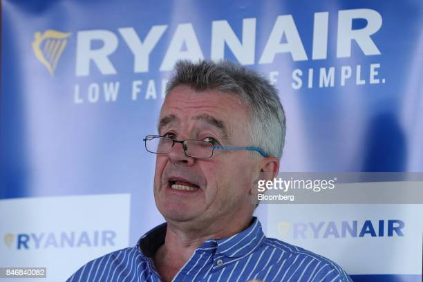 Michael O'Leary chief executive officer of Ryanair Holdings Plc speaks during a news conference at Tegel airport in Berlin Germany on Thursday Sept...