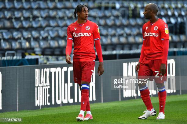 Michael Olise of Reading and Sone Aluko of Reading during the Sky Bet Championship match between Derby County and Reading at the Pride Park, Derby,...