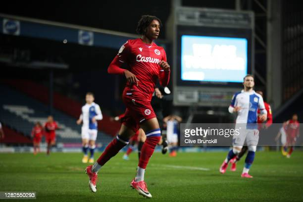 Michael Olise of Reading FC celebrates after scoring his sides second goal during the Sky Bet Championship match between Blackburn Rovers and Reading...