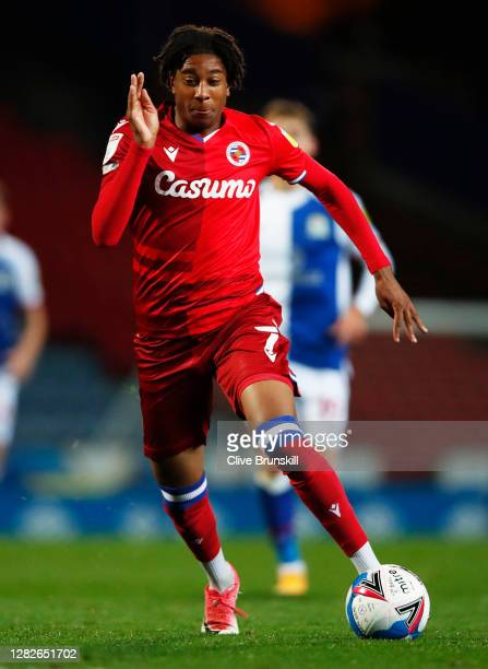 Michael Olise of Reading FC in action during the Sky Bet Championship match between Blackburn Rovers and Reading at Ewood Park on October 27 2020 in...