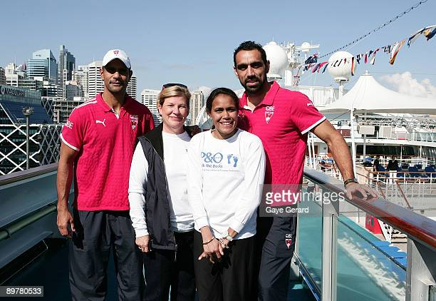 Michael O'Loughlin Ann Sherry CEO of Carnival Australia Cathy Freeman and Adam Goodes 'Walk the Decks' on the Pacific Dawn Cruiseship for the Launch...