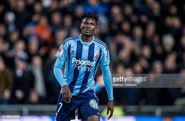 Michael Olunga of Djurgarden IF during the Allsvenskan match between Djurgardens IF and Falkenbergs FF at Tele2 Arena on April 7 2016 in Stockholm...