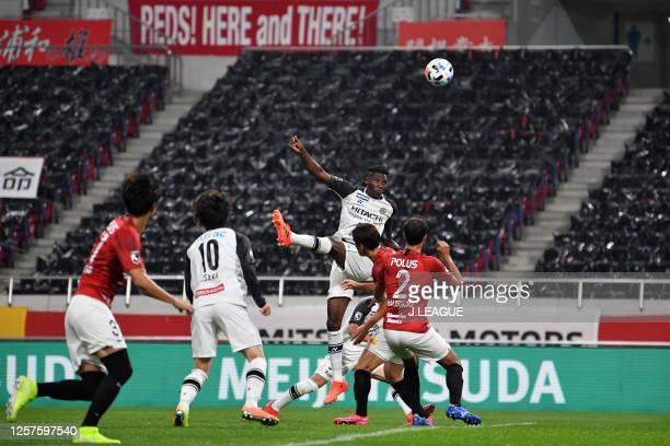 Michael Olunga of Kashiwa Reysol scores his side's second goal during the J.League Meiji Yasuda J1 match between Urawa Red Diamonds and Kashiwa...