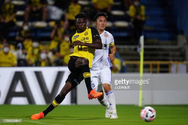 Michael Olunga of Kashiwa Reysol scores his side's third goal during the J.League Meiji Yasuda J1 match between Kashiwa Reysol and Vegalta Sendai at...