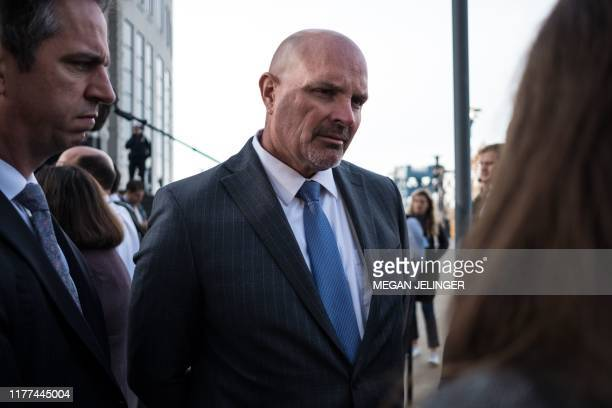 Michael OMalley Cuyahoga County prosecutor briefs the press after an opioid trial in Cleveland Ohio on October 21 2019 Three leading drug...