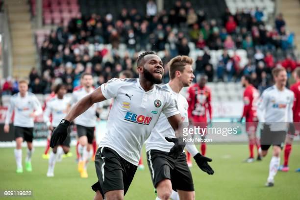 Michael Omoh of Orebro SK celebrates after scoring during the allsvenskan match between Orebro SK and Ostersunds FK at Behrn Arena on April 16 2017...