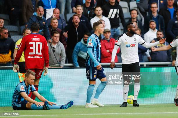 Michael Omoh of Orebro SK reacts during the Allsvenskan match between Djurgardens IF and Orebro SK at Tele2 Arena on May 17 2018 in Stockholm Sweden