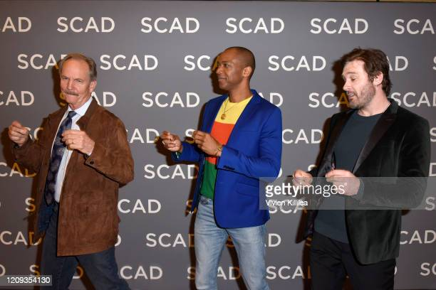 Michael O'Neill J August Richards and Clive Standen attend SCAD aTVfest 2020 Council Of Dads on February 28 2020 in Atlanta Georgia