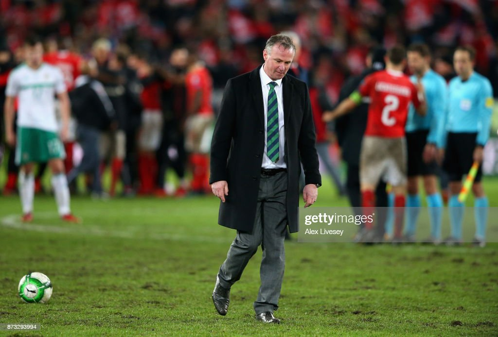 Michael O'Neill, Manager of Northern Ireland looks dejected following the FIFA 2018 World Cup Qualifier Play-Off: Second Leg between Switzerland and Northern Ireland at St. Jakob-Park on November 12, 2017 in Basel, Basel-Stadt.