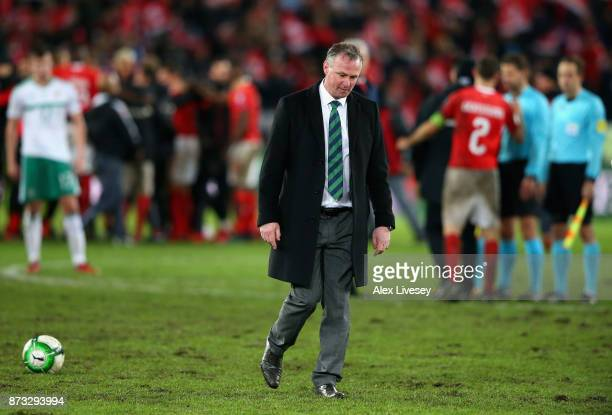 Michael O'Neill Manager of Northern Ireland looks dejected following the FIFA 2018 World Cup Qualifier PlayOff Second Leg between Switzerland and...