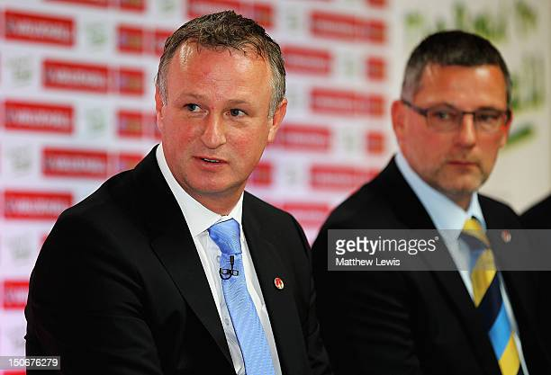 Michael O'Neill manager of Northern Ireland pictured during the Vauxhall's Road to Brazil Home Nations Managers Press Conference at the HAC on August...