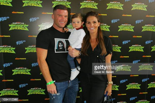 Michael O'Neill with son Ronnie and Danielle Lloyd attend the launch of Nickelodeon's Rise of the Teenage Mutant Ninja Turtles at Bay Sixty6 on...