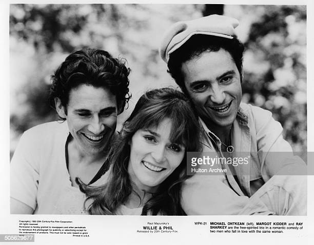 Michael Ontkean Margot Kidder and Ray Sharkey pose for the 20th Century Fox movie Willie Phil circa 1980