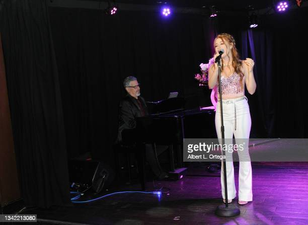 Michael Orland and Jade Patteri perform at the EP Release Party for Jade Patteri held at The Federal NoHo on September 21, 2021 in North Hollywood,...