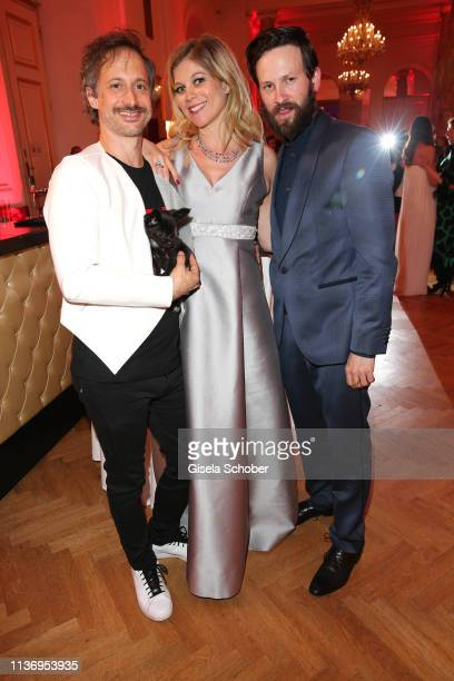 Michael Ostrowski and his partner Hilde Dalik and Franz Dinda during the ROMY award at Hofburg Vienna on April 13 2019 in Vienna Austria