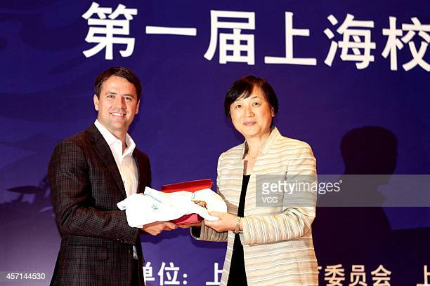 Michael Owen attends a press conference as the ambassador of Shanghai School Football League on October 12 2014 in Shanghai China