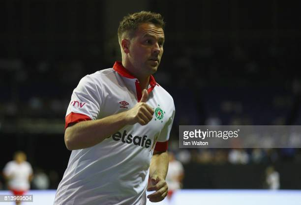 Michael Owen celebrates during the Star Sixe's match between England and Spain in the at The O2 Arena on July 13 2017 in London England